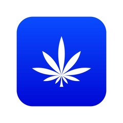 Cannabis leaf icon digital blue for any design isolated on white vector illustration
