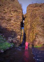 Near the Gljufrabui waterfall on south Iceland