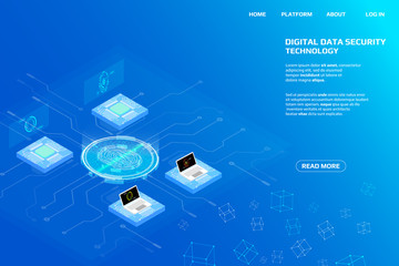 Digital Isometric Fingerprint Scanning Security System Data Access Protection Gadgets.Abstract Authentication Futuristic Circle Circuit Board Panel Element Illustration Background.