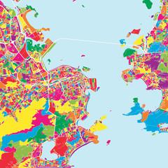 Colorful map of Rio de janeiro
