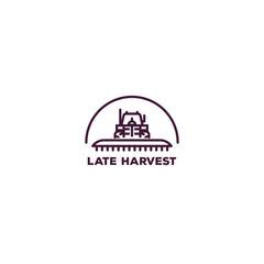 Pixel perfect farming logo. Front view of tractor for farming with cultivator. Line style vector illustration. Agriculture vehicle with farm implement for tillage. Farm harvest engine vehicle.