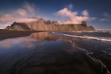 Vestrahorn mount in the South-East of Iceland with Stokksnes black beach