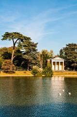18th Century Temple overlooking the boating pond, Gunnersbury Park, Brentford, London, UK
