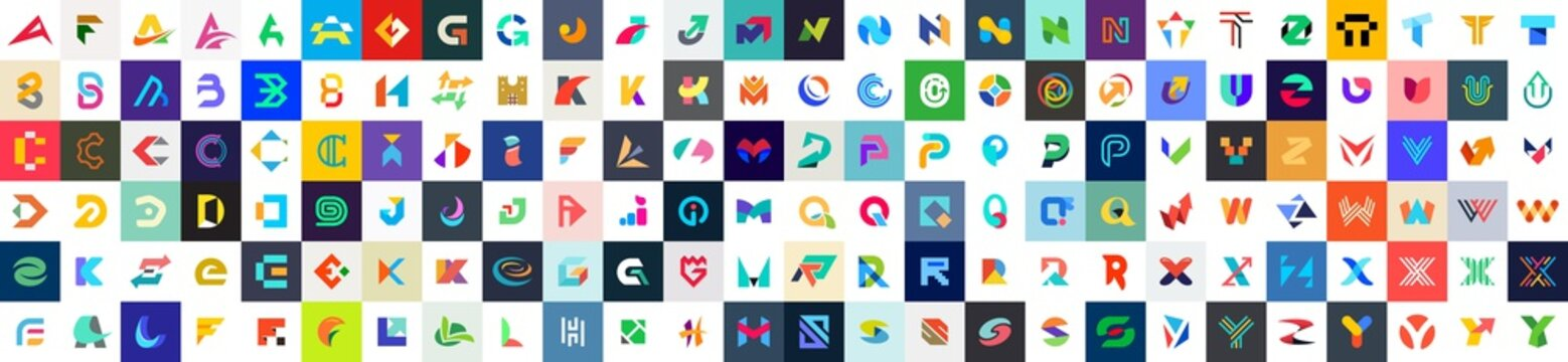 Abstract logos collection with letters. Geometrical abstract logos