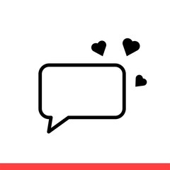 Love message vector icon, dear communication symbol. Simple, flat design for web or mobile app