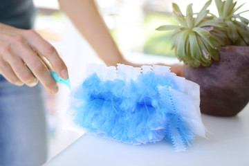 Woman at housework wipes dust with a duster