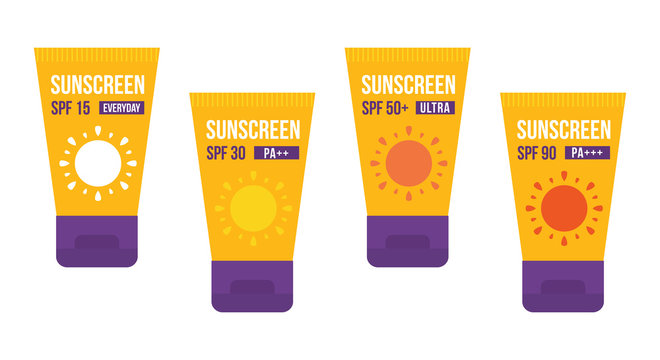Set, collection of cartoon vector bottles of sunscreen isolated on white background.