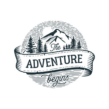 The Adventure Begins Circle White. Vector illustration.