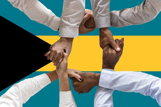 bahamas flag, intergration of a multicultural group of young people