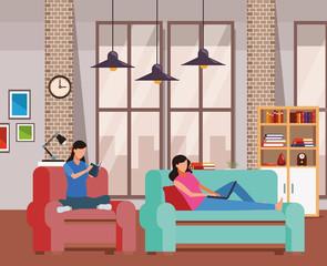faceless women living room