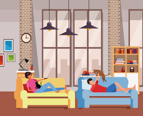 faceless people relax with pets living room
