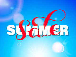 Summer sale brush lettering. Overlapping Text Layout. Vector illustration for banner