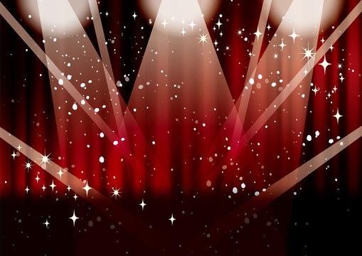 輝くレッドカーテン