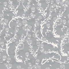 Seamless vector pattern with branches of roses on a gray background