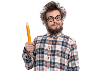 Crazy bearded Man in plaid shirt with funny Haircut in eye Glasses holding Big Pencil, isolated on...