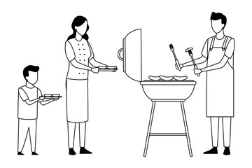 faceless family cooking barbecue food in black and white