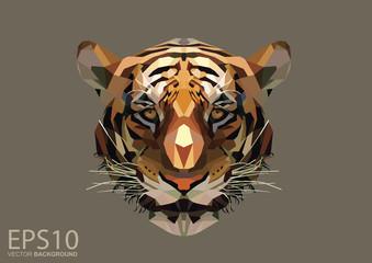 Low polygon tiger head pattern background. Illustration EPS 10.