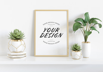 Vertical Frame on Shelf with Plants Mockup
