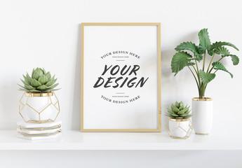 Vertical Frame on Shelf with Plants Mockup