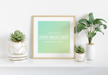 Square Frame on Shelf with Plants Mockup