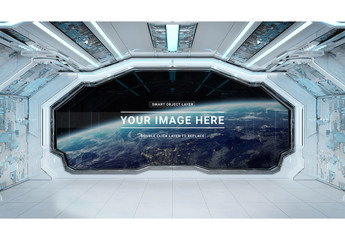White Spaceship with Window Mockup