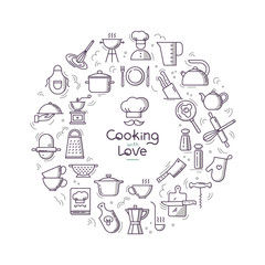 Cooking with love circular Background from icons on the theme of the kitchen and cooking with lettering. Background for the decoration of the menu of restaurants and cafes.