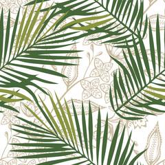 Foto op Canvas Tropische Bladeren Tropical wildlife seamless pattern. Madagascar flowers ornament. Vector pattern.