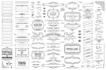 Huge collection or set of vector decorative elements for design Wall mural