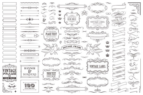Huge collection or set of vector decorative elements for design