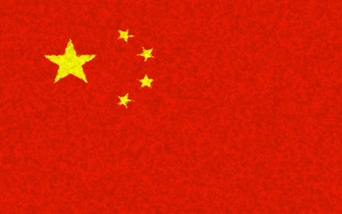 Graphic illustration of Chinese flag with a blotch pattern