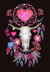 Beautiful hand drawn sketch illustration- the skull of a bull. Boho style print with feathers.