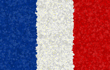 Graphic illustration of a French flag with a blossom pattern