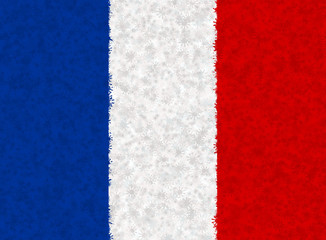 Graphic illustration of a French flag with a star pattern