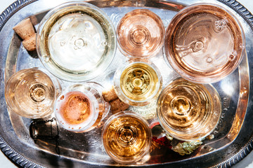 Champagne and Sparkling Rose on Silver Tray