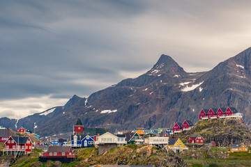 Sisimiut arctic village / town in Greenland with steep mountain ridge - Arctic Circle Trail