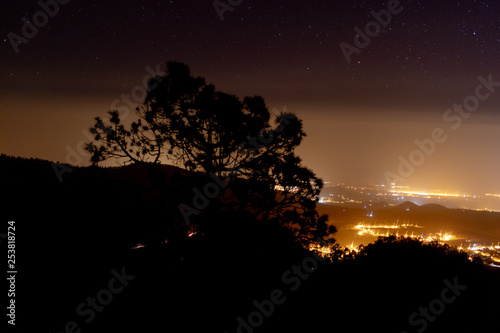 light pollution over the small town