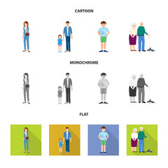 Vector design of character and avatar  icon. Collection of character and portrait vector icon for stock.