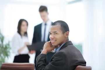 closeup .a successful businessman on blurred background