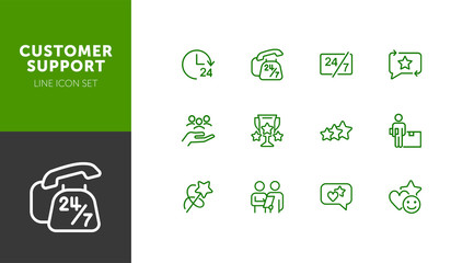 Customer support line icon set