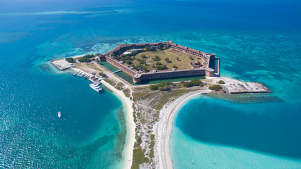 aerial view of Dry Tortugas in Key West Florida