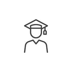 Graduated student line icon. linear style sign for mobile concept and web design. Person with graduation cap outline vector icon. Symbol, logo illustration. Pixel perfect vector graphics