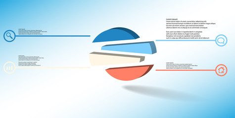 3D illustration infographic template with embossed circle randomly divided to four shifted parts