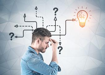 Casual man thinking, idea concept