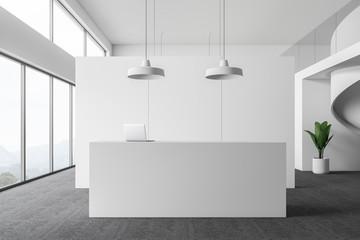 White office reception area