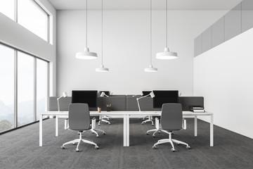 Loft white open space office interior
