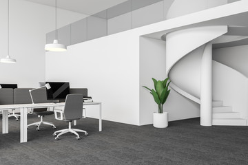 Open space office corner with stairs