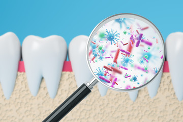 Teeth with magnifying glass and bacteria