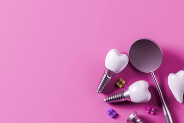 Implant screw teeth and mirror, pink background