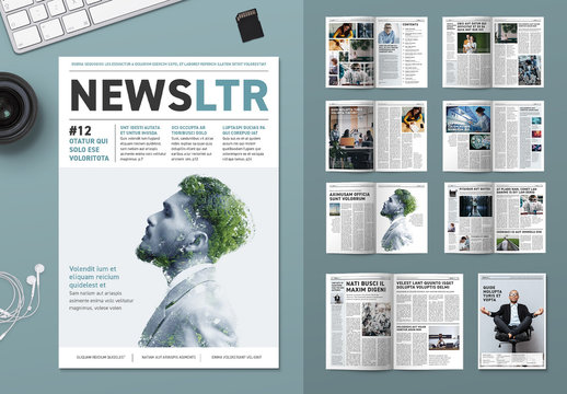 Newsletter or Magazine with Teal Accents