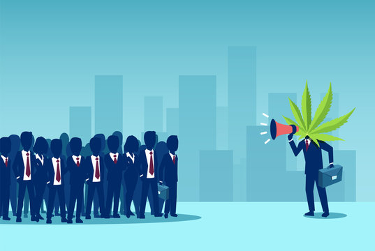 Vector of a businessman with cannabis leaf instead of head screaming in a megaphone to a crowd of people